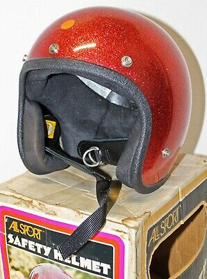 Vintage ALL SPORT Motorcycle Bike Safety Helmet NIB Yellow Adult SMALL Open Face