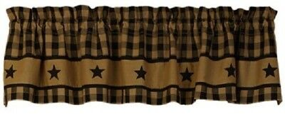 Primitive Black Country Star Valance Rustic Western Farmhouse Check Curtain