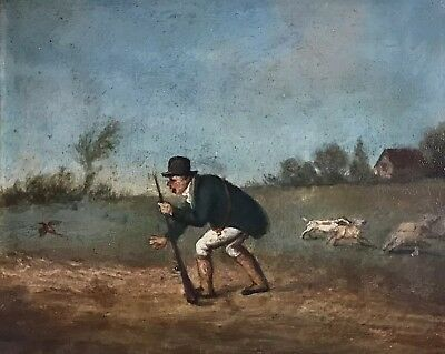 Fine Dutch/ Flemish Early 19Th Century Sporting Oil - Gentleman Shooting Game