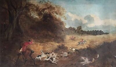 Antique English Oil Painting - Fox Hunting Scene - Riders Horses & Hounds