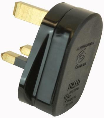 NEW 13A PLUG SNAP-ON QUICKFIT CORD GRIP 3-Pin UK MAINS PLUGS - UK SELLER - BLACK