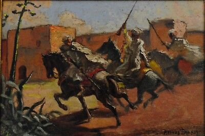 Antique 1915 Signed French Orientalist Oil Panting - Mattéo Brondy