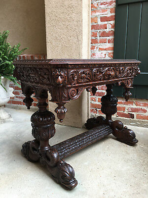 Antique English Carved Oak Library Table Desk Renaissance Gothic Dolphin Serpent