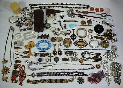 (parts, repair, repurpose) Antique Vintage Jewelry Lot Pin Brooch Ring Necklace