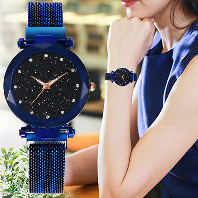 New Women Quartz Stainless Steel Band Mesh Magnet Buckle Starry Sky Analog Watch