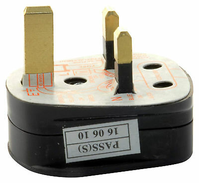 UK 3-Pin 3Amp Mains Plug with 3A Built-In Fuse - Fused With Shrouded Pins -Black