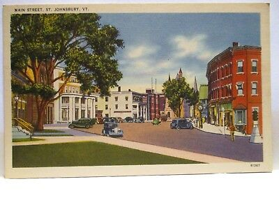 "1940 Postcard  "" Main Street, St Johnsbury Vt ""  Cars Storefronts Unused"