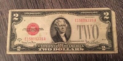 Series 1928 G $2 Two Dollars United States Legal Tender Red Seal Note