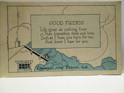 "1921 Friendly Message Ser. Postcard  "" Good Friends ""  Greetings From Helmer In"