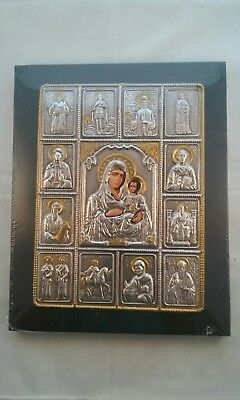 Byzantine Icon, Virgin Mary With Child & Saints Metal clad.Greece.