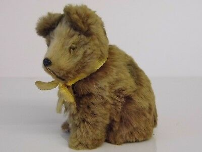 A Rare Cute Miniature Vintage Antique West German Brown Fur Bear With Glass Eyes