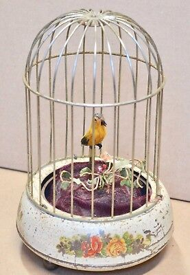 "Vintage German Made Singing Bird Cage for Parts 8 3/4"" Tall"