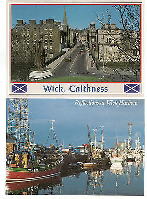 2 X Wick, Caithness. Bridge Street  unused vintage  postcards by Whiteholme