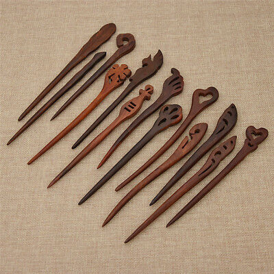 Chinese Vintage Carved Wooden Hair Stick Hairpin Handmade Hair Accessories Craft