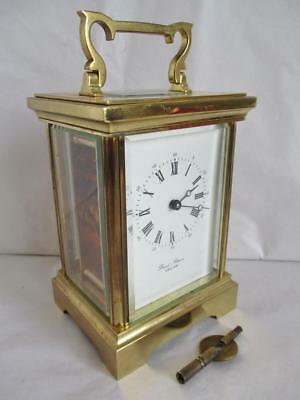 STUNNING VINTAGE BRASS CARRIAGE CLOCK by DAVID PETERSON ENGLAND GWO with KEY