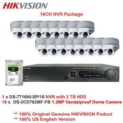 Hikvision-USA 16CH NVR Network Package +16 x 1.3MP Outdoor IR Vandal IP Dome/PoE