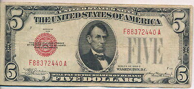 1928-C Red Seal $5 U.s. Note **no Holes Or Tears** Free Shipping