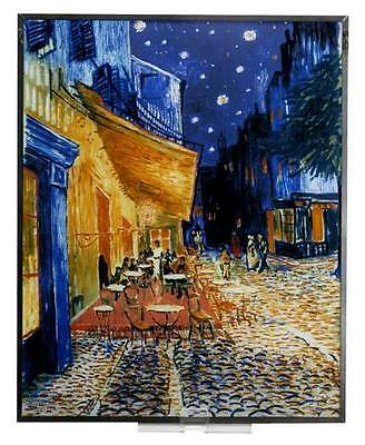 """Van Gogh """"cafe Terrace At Night"""" Stained Art Glass Window Panel Hanging Display"""