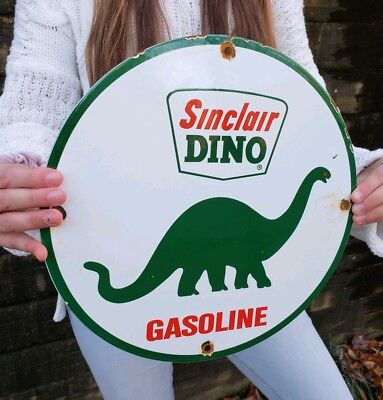 Vintage Sinclair Dino Gasoline Porcelain Sign Gas Station Pump Plate Motor Oil