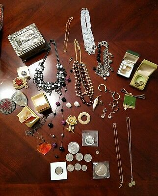 Junk Drawer Lot Jewelry Most Vintage Woodstock Snoopy Silver Coins Cufflinks +++