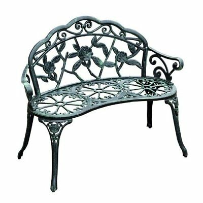 "Outsunny 40"" Cast Iron Antique Rose Style Outdoor Patio Garden Bench"
