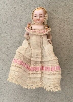 ANTIQUE BISQUE PORCELAIN BABY DOLL dolls house china Victorian miniature gown
