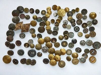 Mixed Assorted Lot - 114 Vintage Antique Metal BUTTONS Collectible Victorian Etc