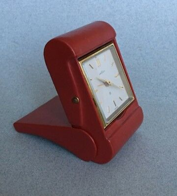 VINTAGE SWISS ANGELUS 8 DAY TRAVEL ALARM CLOCK folding red leather case