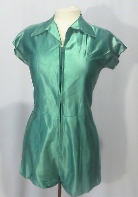 Vintage Gym Suit Romper Outfit Shiny Green
