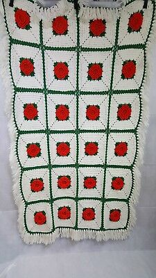 Crochet Christmas Afghan Poinsettia 3d Granny Square 64 X 37 Red