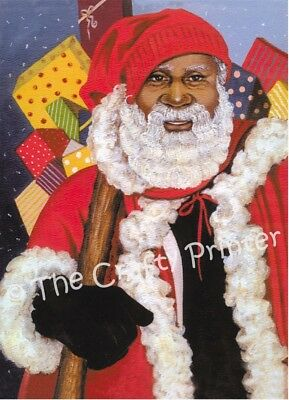 """SET of SIX BLACK AMERICANA CHRISTMAS CARDS - """"African American Santa Clause"""""""