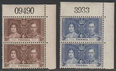 Nigeria 1937 KGVI Coronation 1½d, 3d Pairs with Sheet No Mint SG47-48