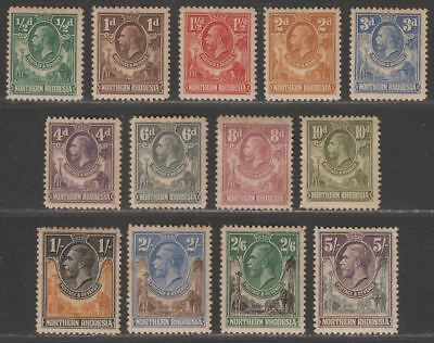 Northern Rhodesia 1925 King George V Set to 5sh Mint with heavy toning