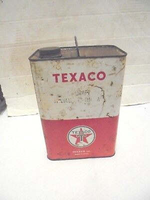 one gallon metal can texaco aircraft hydraulic oil gas station decor rough paint