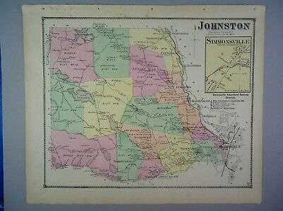 1870 Johnston, Providence Co., Rhode Island Hand-Colored Map, D.G Beers & Co.