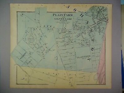 1870 Plain Farm & Silver Lake Plats Rhode Island Hand-Colored Map, D.G Beers Co.