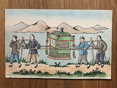 China Old Postcard Colour Painted Chinese Sedan Chair People !!