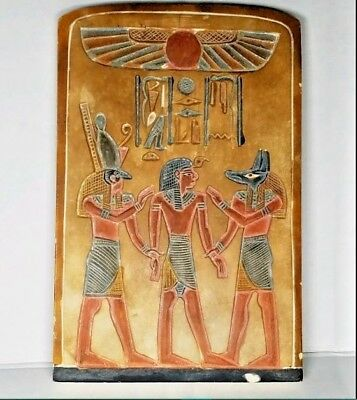 "6.5"" Ancient Historic Egyptian Temple Wall Decor Plaque Horus Anubis & King Tut"