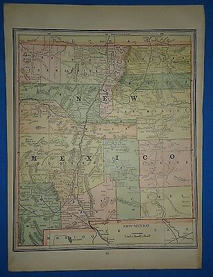 Vintage 1891 NEW MEXICO TERRITORY MAP ~ Old Antique Original Atlas Map 120718