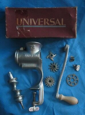Vtg UNIVERSAL No 72 Hand Crank Table Mount Meat Grinder w/ Attachments Box