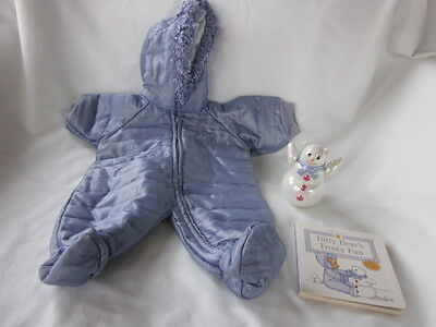 American Girl Bitty Baby Frosty Fun Snowflake Snowsuit Roley Poley Snowman Book