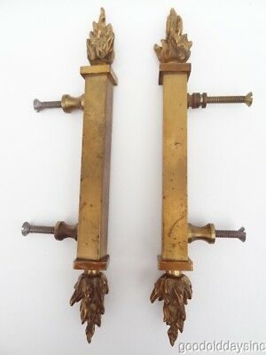 Large Heavy Brass Pair of Vintage Flame Door Handles / Pulls - 10 inch tall