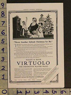 1913 Music Instrument Piano Virtuolo Holiday Christmas Santa Hallet Ad Zv15