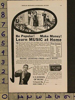 1920 Music Education Teacher Lesson Instrument Piano Violin Guitar Ad Zv80