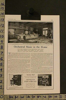 1905 Music Instrument Aeolian Pipe Organ Orchestra Architecture Decor Ad Si17