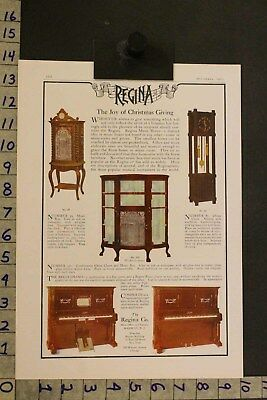 1905 Music Instrument Regina Piano Clock Home Decor Christmas Rahway Nj Ad Si24