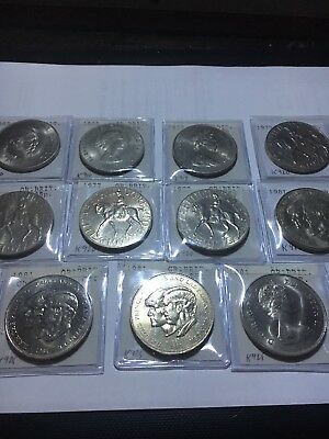 Great Britain Crown Coin Lot Of 11 Unc/Bu