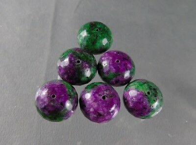 dkd#7H/ 6 NATURAL LG Facted Ruby in Zoisite Beads