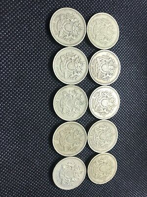 Lot Of TEN 1983 UK Great Britain British One 1 Pound COIN