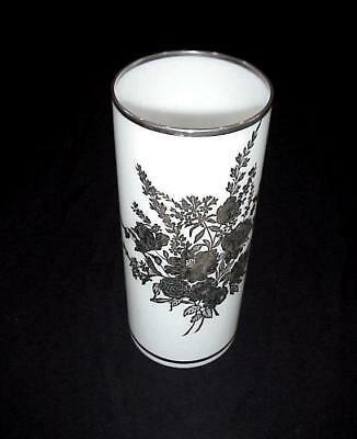 "Mid Century Marked Sterling Overlay Silver 12"" Tall Floral Milk Glass Vase"